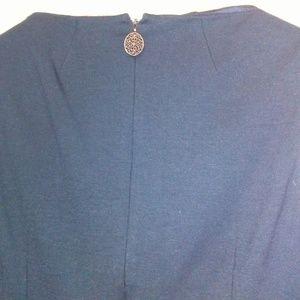 Elie Tahari Dresses - Elie Tahara Dark Blue Sheath Dress w Back Zipper